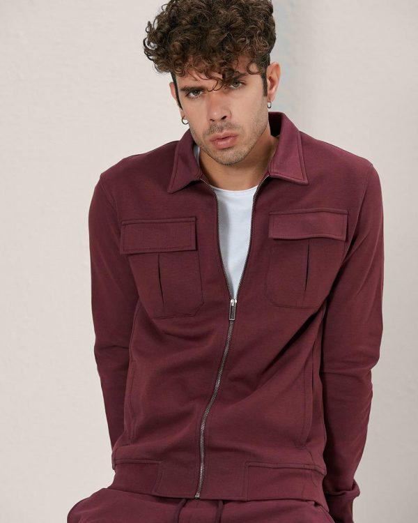 Flap Pockets Burgundy Track Jacket For men, Sports Wear For Men , البسة رجالية