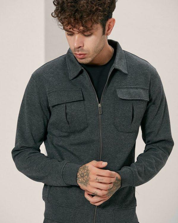 Flap Pockets Grey Track Jacket For men, Sports Wear For Men , البسة رجالية
