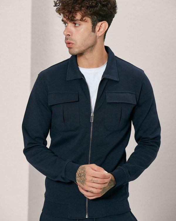 Flap Pockets Navy Track Jacket For men, Sports Wear For Men , البسة رجالية