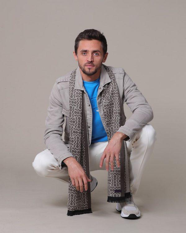 Blue top for men , Beige Jacket for men , Beige Scarf for men
