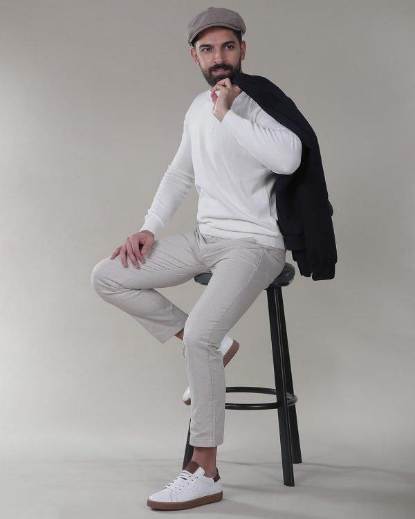 Beige Pants For men, White Sweater for men, Jacket for men