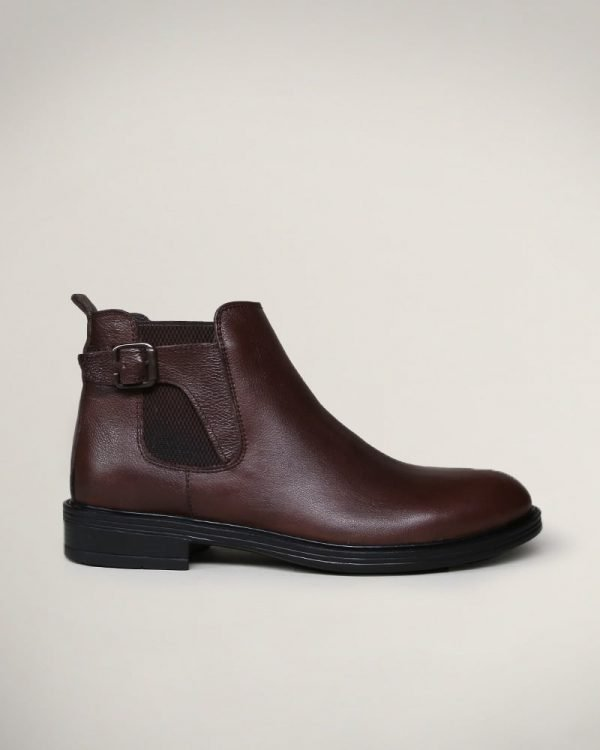 brown Leather buckle ankle boots for Men , brown boots for Men ,