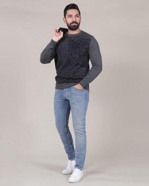 compass print grey sweater , Causal Wear For men, Men's Fashion