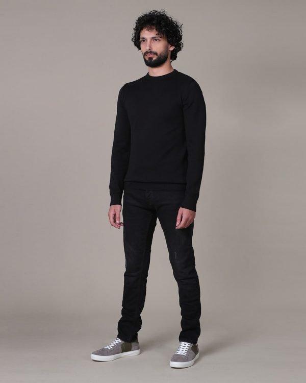 Plain black sweater for men