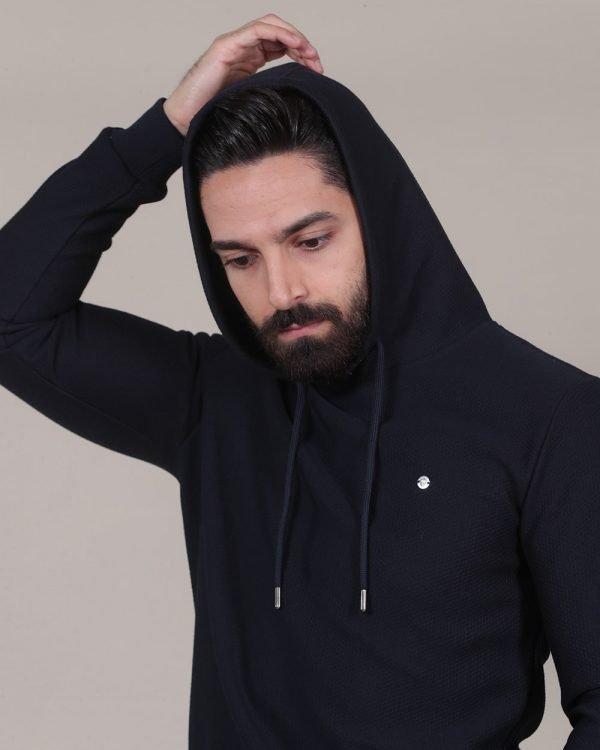 micro textured navy hoodie, hoodies for men, Street Wear For men , Sports Wear For men