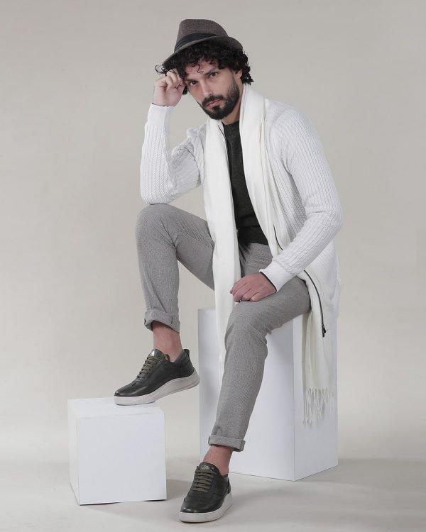 Olive Retro Sneakers for men, Sneakers for men , White Cardigan for men